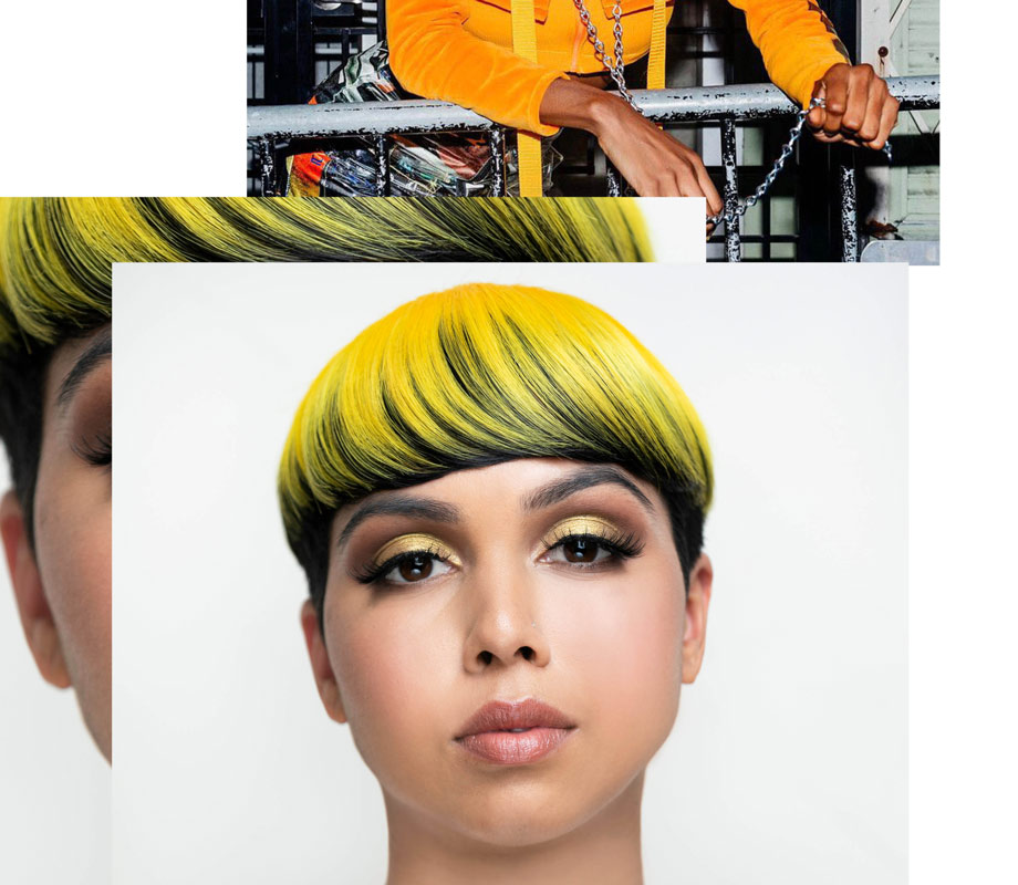 Tatiana Tavares BMC graduate's makeup for yellow-haired model