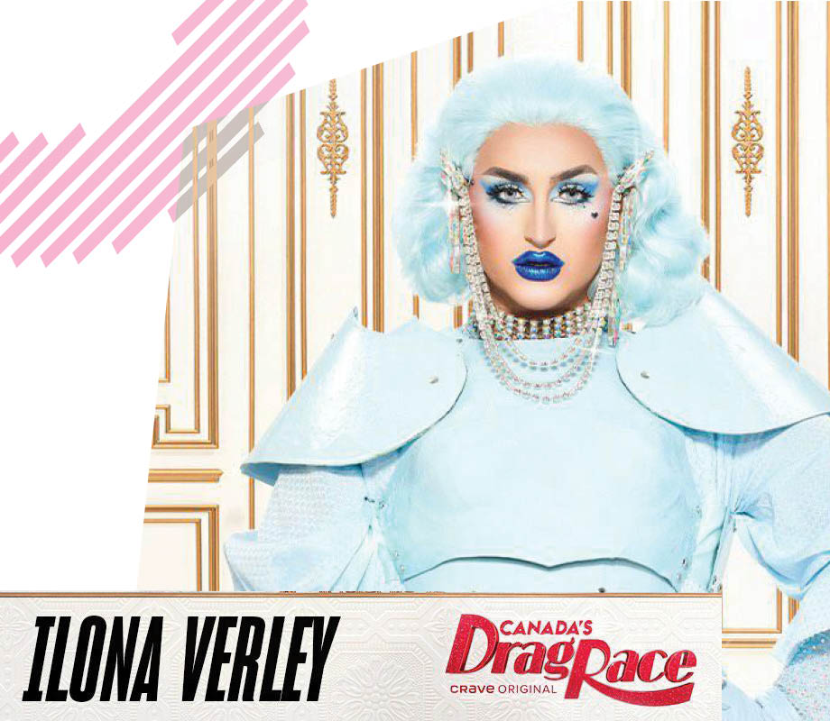 Canada's Drag Race promotional image of drag queenIona Verley, dressed by Evan Clayton
