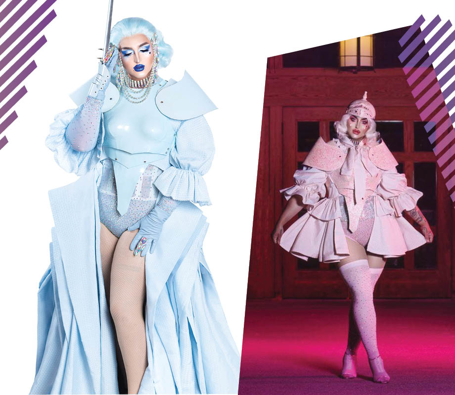 drag queen ilona verley in pastel blue and pastel pink glamour armour costumes