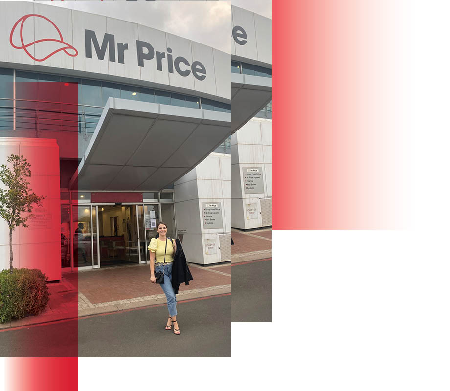 BMC fashion marketing graduate Maxine Hillestad standing in front of Mr. Price offices