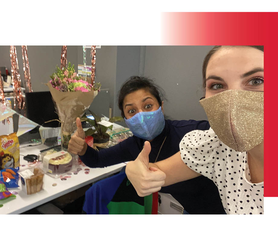 BMC fashion marketing graduate Maxine Hillestad wearing a mask at work