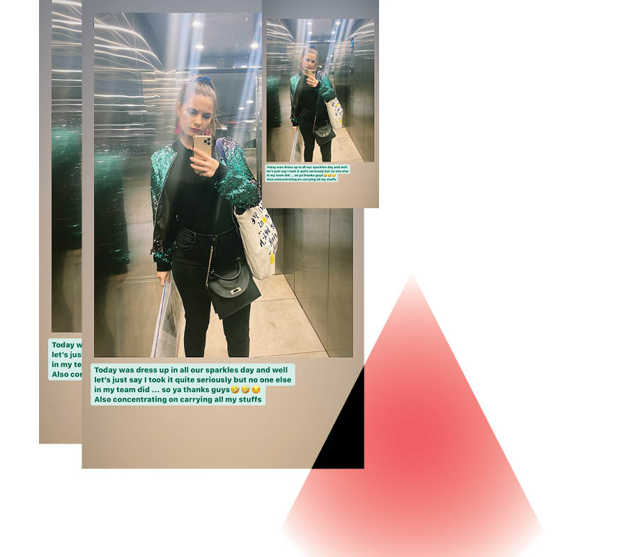 BMC fashion marketing graduate Maxine Hillestad taking a selfie in a sequin bomber jacket