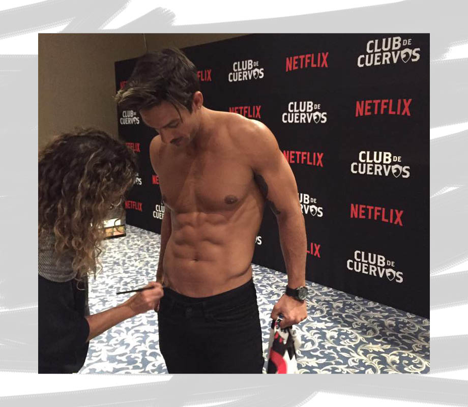 BMC Pro Makeup Graduate Gabriela Benito profile working on actor's abs for Club de Cuervos