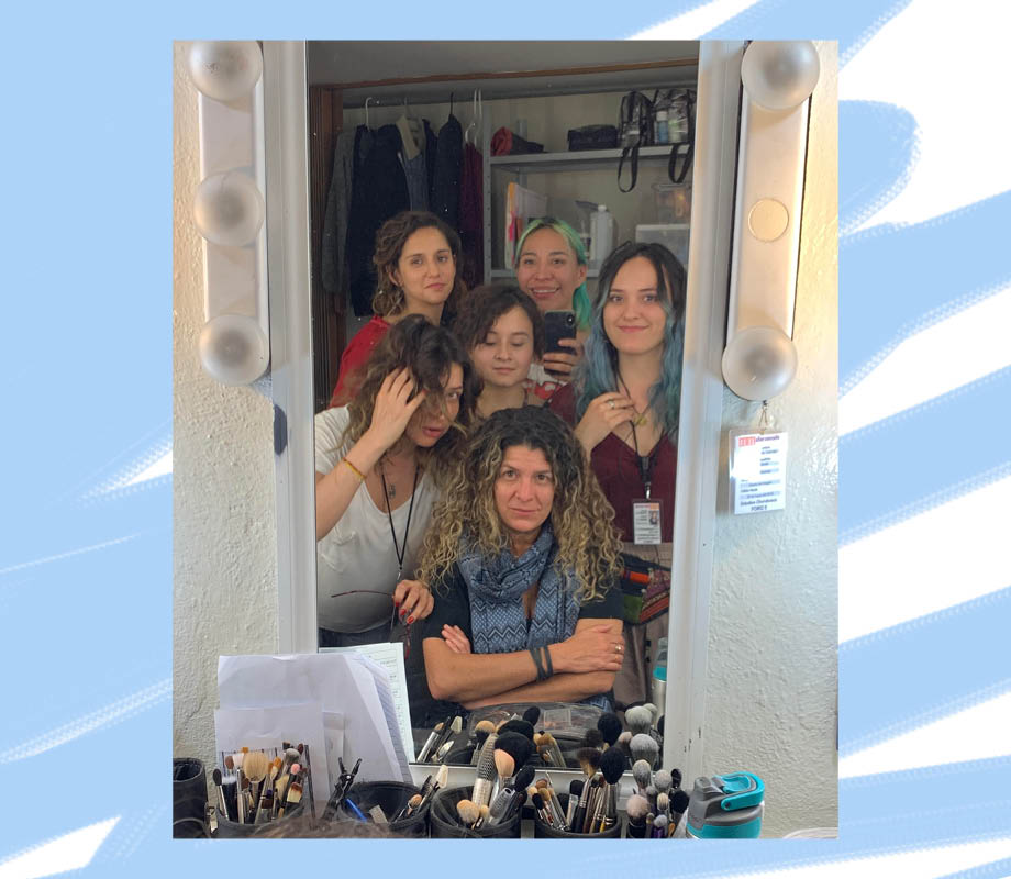 BMC Pro Makeup Graduate Gabriela Benito with coworkers in the makeup truck