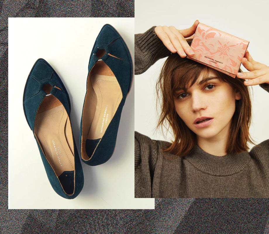 women's shoes and wallet by Katharine Hamnett