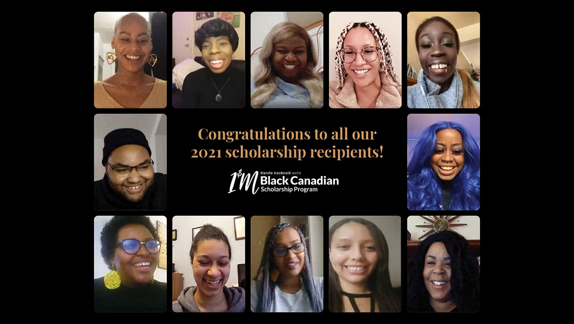 Announcement for Blanche BLM Scholarship recipients for 2021