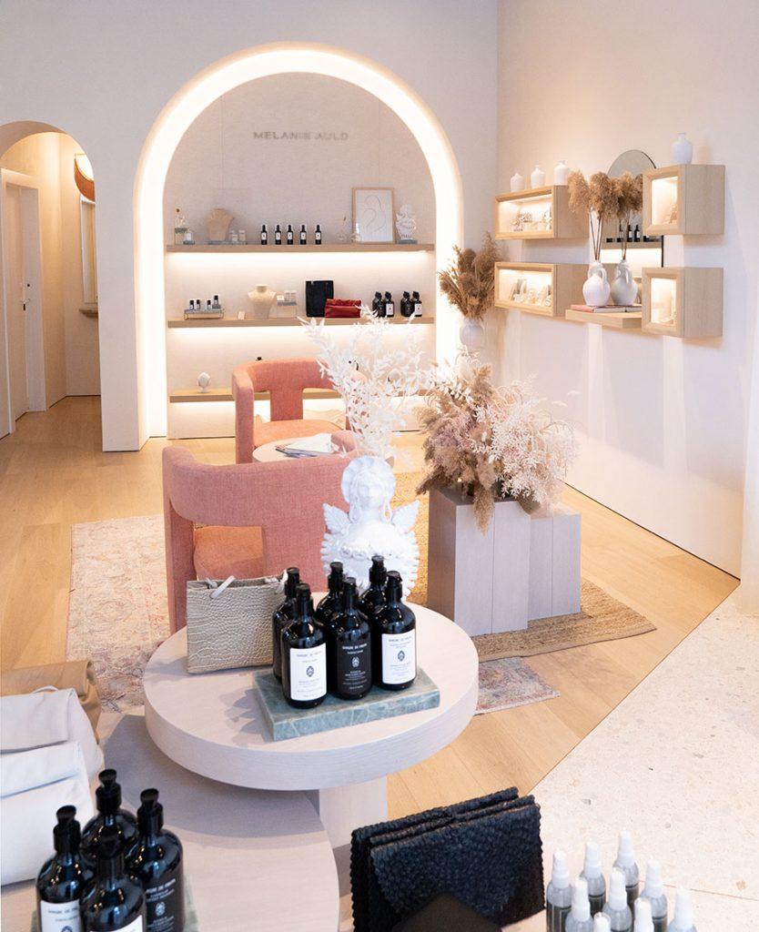 dreamy soft pink interior of Melanie Auld Jewelry