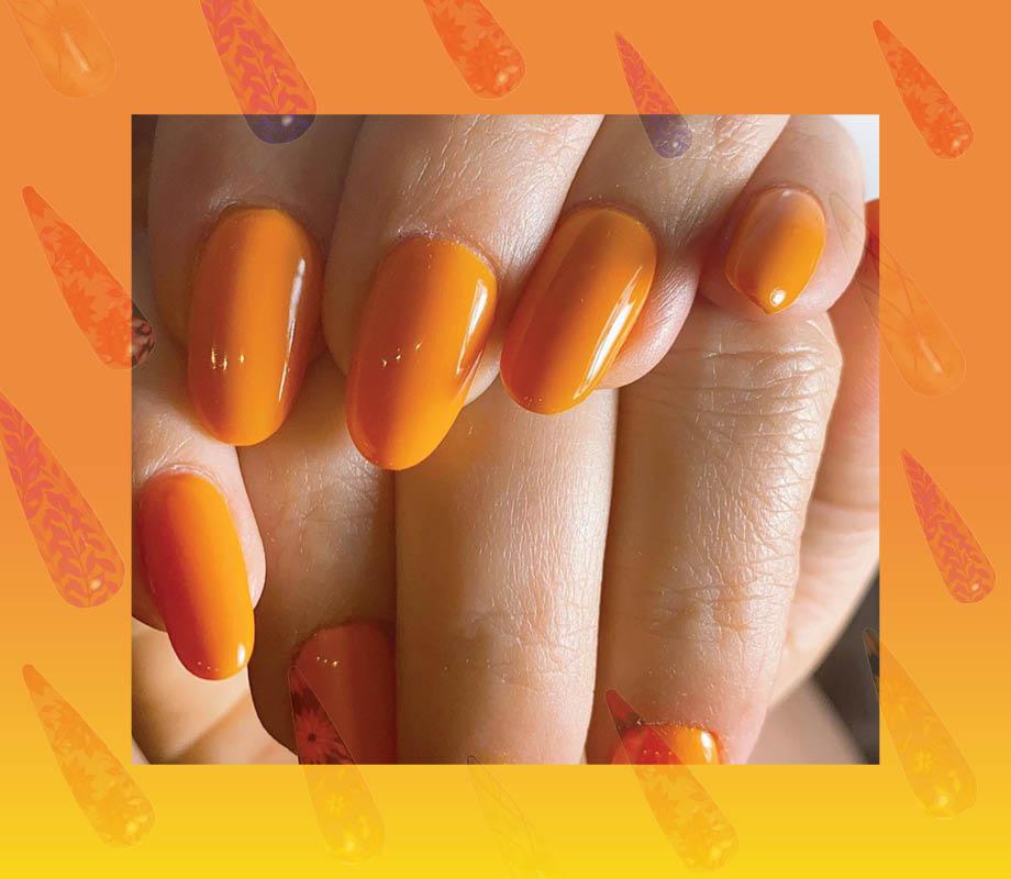 Blanche Macdonald Centre nail studio instructor Roshanak Fadaei's orange citrus nails