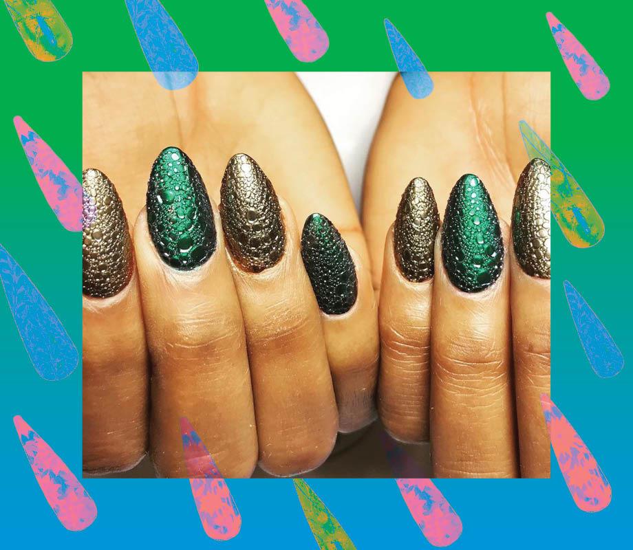 Blanche Macdonald Centre nail studio instructor Roshanak Fadaei's reptile texture nails