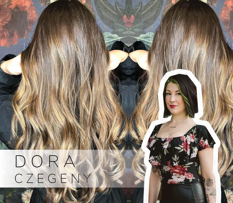 Supernova Salon stylist and Blanche Macdonald Centre graduate Dora Czegeny and her wavy hair