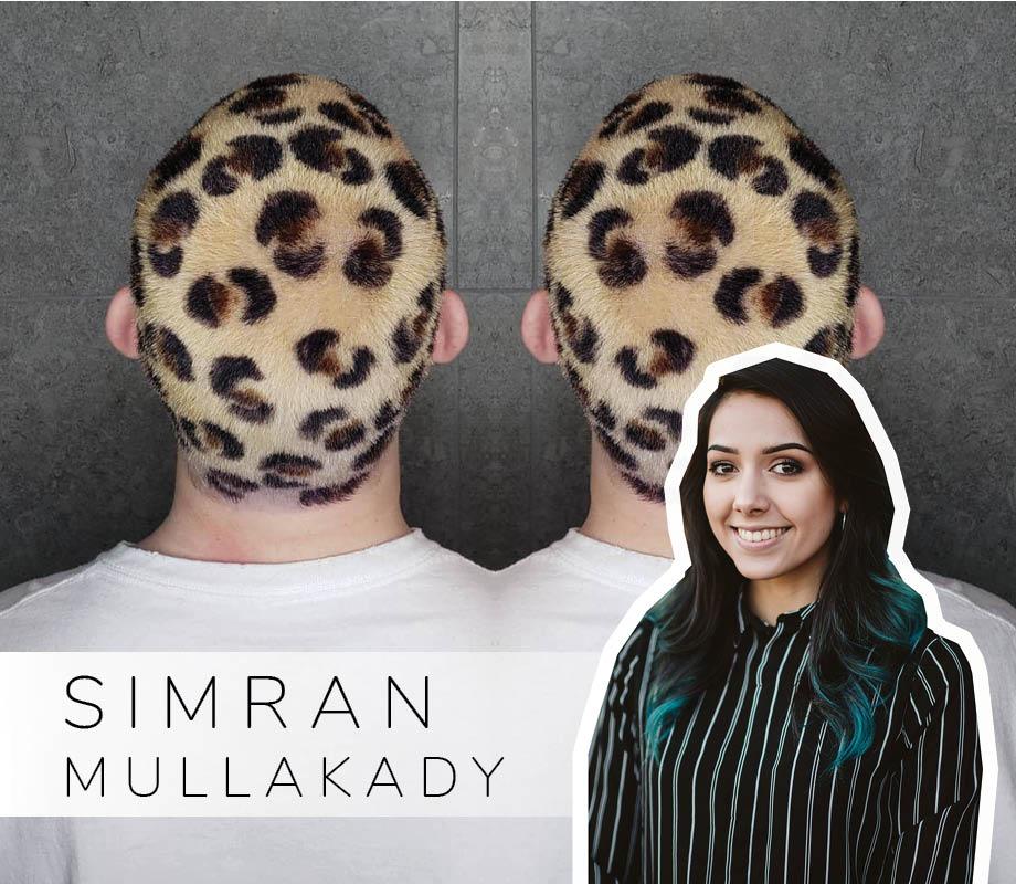 Supernova Salon stylist and Blanche Macdonald Centre graduate Simran Mullakady and their leopard hair