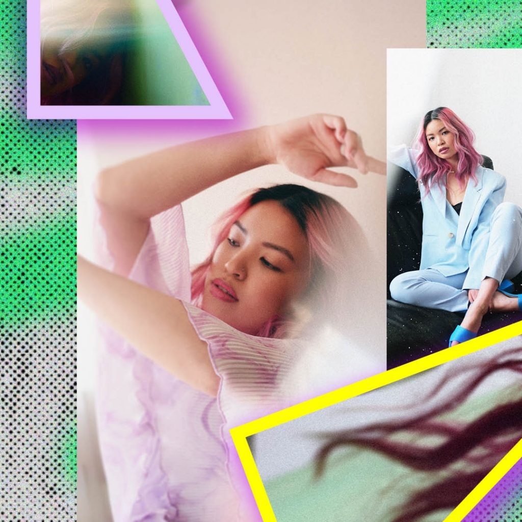 photo from FOLKLR magazine of model with etherial pastel hairFM Grads Daniela Lopez Camacho and Tayler Maier