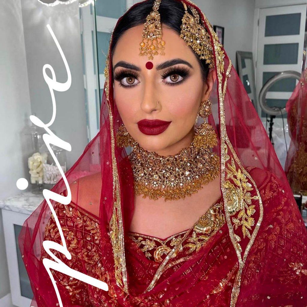 deep crimson lips Southeast Asian wedding look by BMC pro makeup graduate Sukhi Lidher