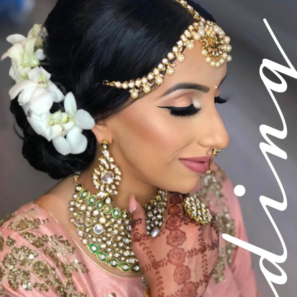 a bejeweled pink and classic wedding look by BMC pro makeup graduate Sukhi Lidher