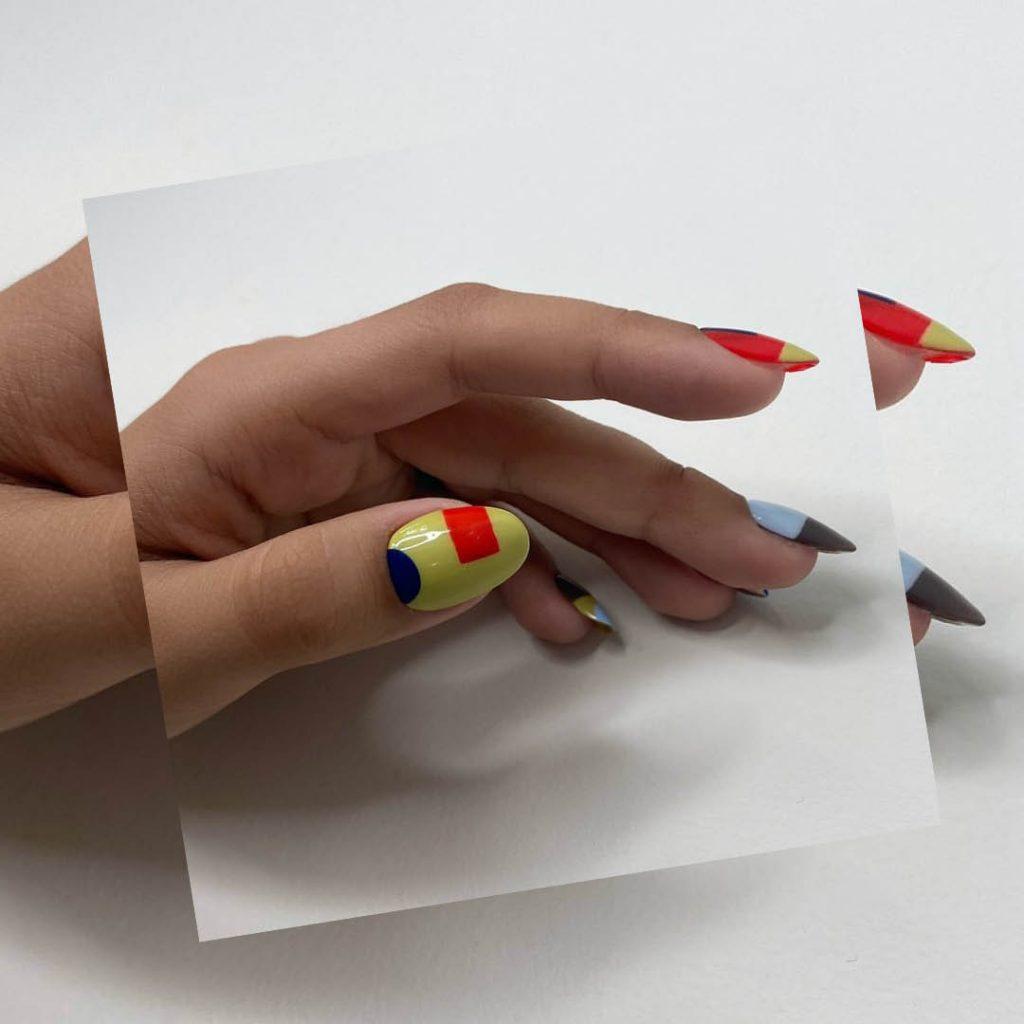 BMC nail studio graduate Vanessa Stern's geometric nail design