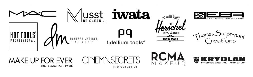 Logos Bdellium Tools, Danessa Myricks, Kryolan, MAC, Makeup Forever, RCMA, Hot Tools, MUSST, Cinema Secrets, European Body Art, Iwata, TS Creations, Herschel
